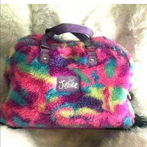 Justice fur Rolling Pulling Handled Duffle Bag
